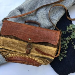 Woven Sisal and Leather Crossbody.